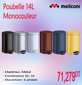 Poubelle monocouleur 14l meliconi